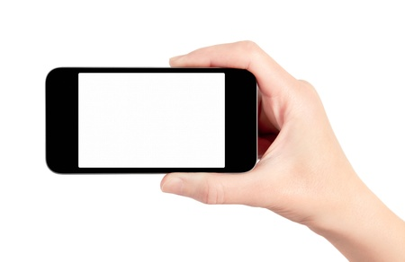 terra arrendada: Hand holding mobile smart phone with blank screen  Isolated on white