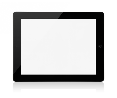 Kiev, Ukraine - Marth 23, 2012 - iPad 3rd generation on a white background with a blank screen. Was presented under the name The New iPad on presentation by Apple in San Francisco, March 7, 2012. Stock Photo - 13111803