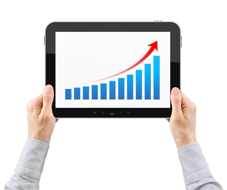 analyze: Hands are holding the tablet pc with success chart on a screen  Isolated on white  Stock Photo