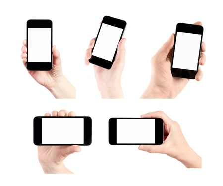 Hand holding mobile smart phone with blank screen  Set of 5 various photos  Isolated on white  photo