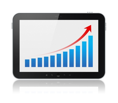 Modern digital tablet PC showing success chart on a screen  Isolated on white  Include clipping path for tablet and screen  photo