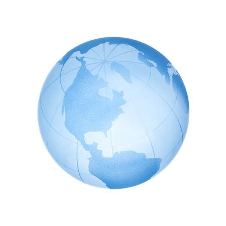 Glass blue globe isolated on white