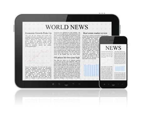 World news articles on modern digital tablet and mobile smart phone  Isolated on white  photo