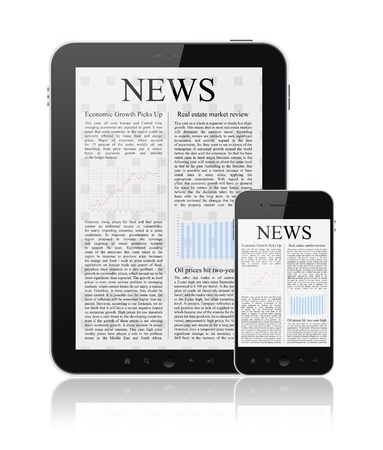 articles: News articles on modern digital tablet and mobile smart phone  Isolated on white