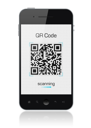 barcode scanner: Modern mobile smartphone showing QR code scanner on the screen. Include clipping path for phone and screen.