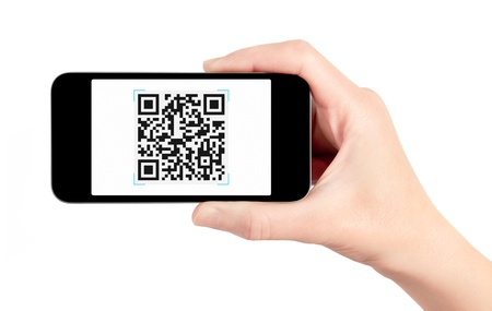 scanner: Hand holding mobile smart phone with QR code scanner on the screen. Isolated on white. Stock Photo