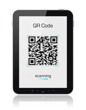rfid: Modern digital tablet  showing QR code scanner on the screen. Include clipping path for tablet and screen. Stock Photo