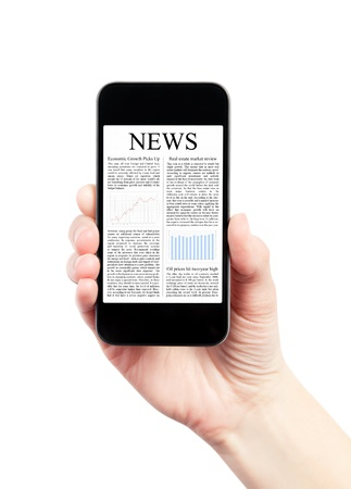 broadsheet: Hand holding mobile smart phone with news article on the screen  Isolated on white