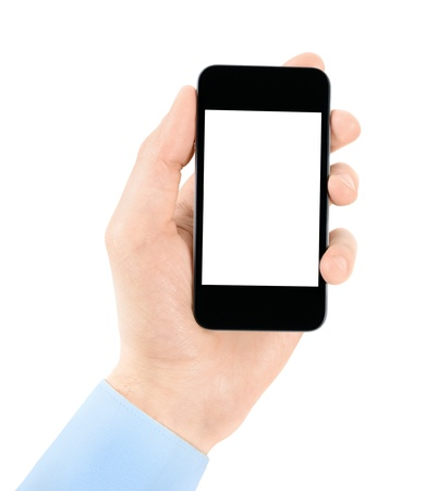 Hand holding mobile smart phone with blank screen  Isolated on white
