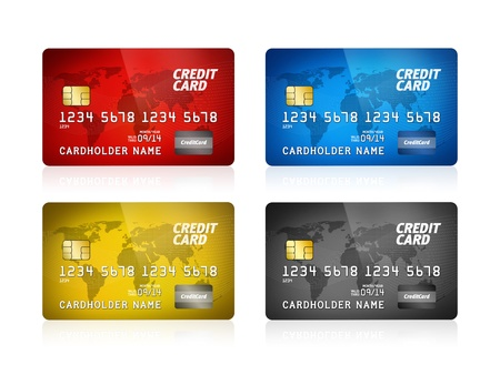 debt collection: Pack of high detail illustration of a plastic credit card  Isolated on white