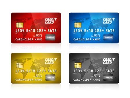 tarjeta visa: Paquete de ilustración alto nivel de detalle de una tarjeta de crédito de plástico aislado en blanco
