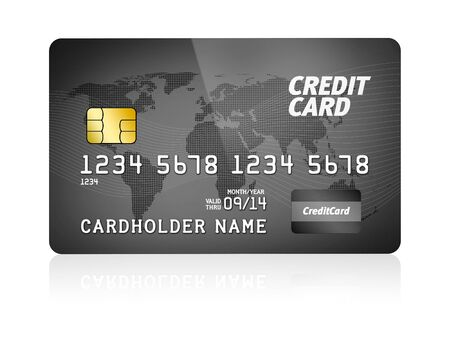 High detail illustration of a plastic credit card  Isolated on white   illustration