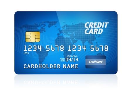 tarjeta visa: Ilustración de alto nivel de detalle de una tarjeta de crédito de plástico aislado en blanco
