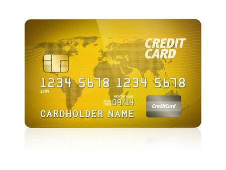 carta credito: Illustrazione ad alto dettaglio di una carta di credito di plastica isolato su bianco