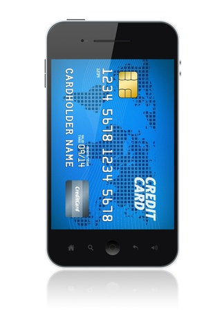 technology transaction: Modern mobile smartphone with credit card on screen  Mobile payment concept  Isolated on white