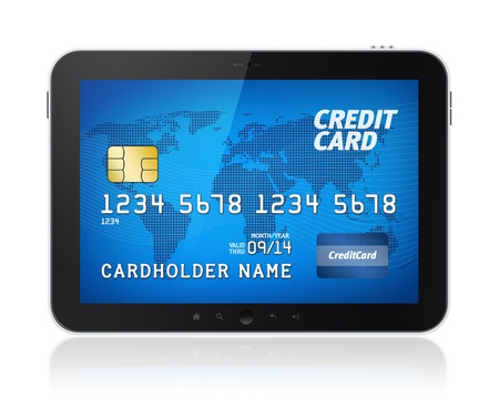 Digital tablet with credit card on screen  Electronic payments concept image  Isolated on white  photo