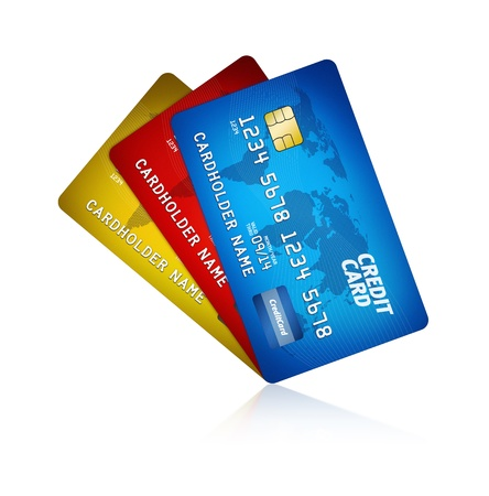 debit: High detail illustration of a plastic credit card  Isolated on white
