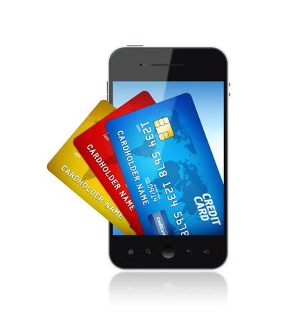 電子決済コンセプト画像分離された白の画面上のクレジット カードの束を持つモバイル スマート フォン