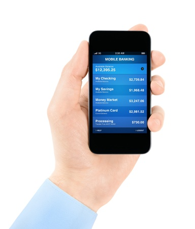 Hand holding mobile smart phone with mobile banking application on a screen photo