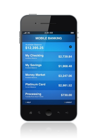 Modern smartphone with mobile electronic banking application on a screen photo