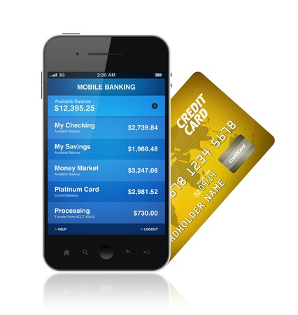 visa credit card: Illustration of mobile banking application on a modern mobile phone with plastic card Stock Photo