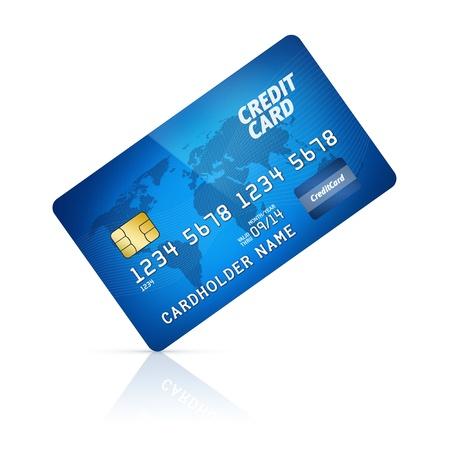 tarjeta visa: Ilustraci�n de la tarjeta de cr�dito de pl�stico de alto detalle aislado en blanco Foto de archivo