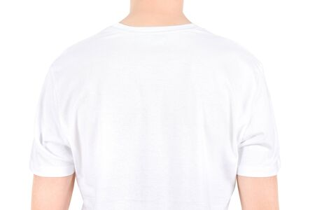 Advertising space on a white t-shirt  Isolated on white Stock Photo - 15216743