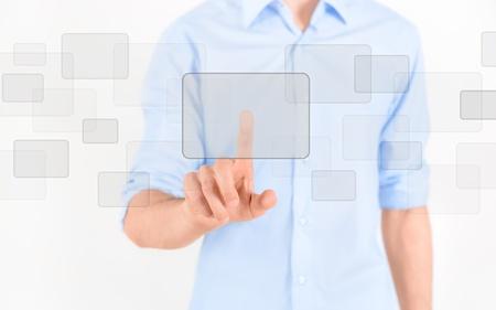 Man touching blank virtual screen  Isolated on white Stock Photo - 15216748