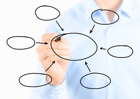 diagrama de flujo: Joven hombre de negocios diagrama dibujo vacío aislado en blanco