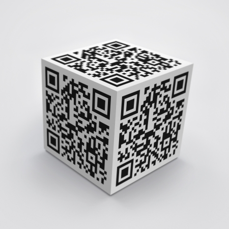 3D cube with QR code concept image  photo