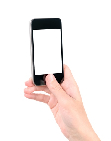 Taking photo on mobile phone concept  Hand holding mobile smart phone with blank screen  Isolated on white