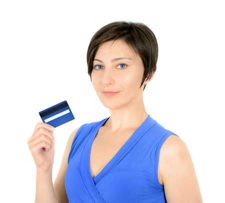 Pretty young woman showing credit card  Isolated on white  Stock Photo - 14937272