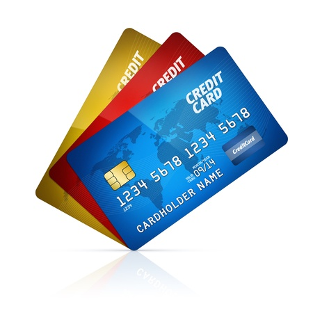 High detail illustration of a plastic credit card  Isolated on white  Map from  http   www lib utexas edu maps world html Stock Illustration - 15216809
