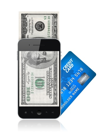 Modern mobile phone with hundred dollar bills on a screen and with credit card. Mobile payment concept. Isolated on white. photo