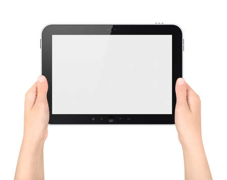 Woman holding digital tablet with blank screen. Isolated on white. photo