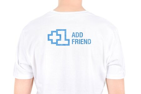 Man with the text   1 Add friend  is written on a T-shirt concept  Isolated on white  Stock Photo - 15064950