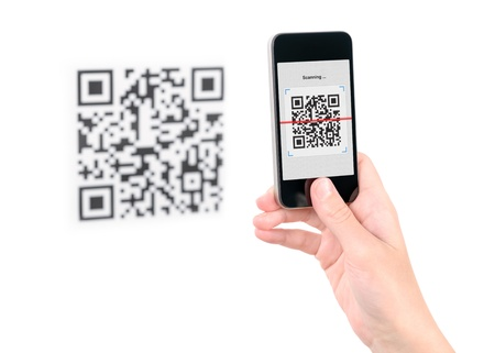 scan: Capture QR code on mobile smart phone  Isolated on white  Stock Photo