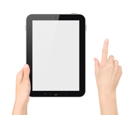 Hand holding tablet pc with touching hand   photo