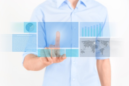 Man touching futuristic touchscreen interface with some graphic, charts and news  Isolated on white  photo
