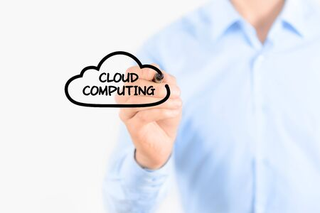 Young businessman drawing cloud computing concept  Isolated on white  photo