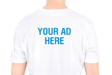Your AD on a white t-shirt concept  Isolated on white Stock Photo - 15064952