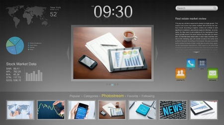 new media: Modern desktop interface for new devices  Stock Photo