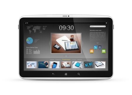 e new: Modern digital tablet computer with start screen interface isolated on white