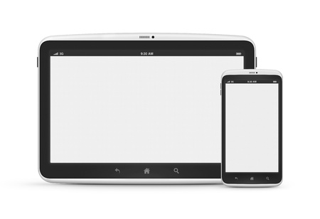 Modern digital tablet with mobile smart phone isolated on white  Stock Photo - 15262011
