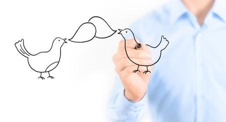 tweet icon: Joven empresario de medios sociales de dibujo en el chat concepto aislado en blanco
