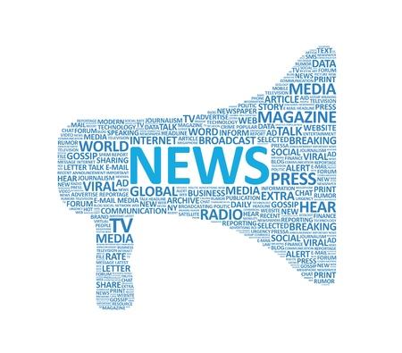 rompiendo: Meg�fono s�mbolo compuesto por varias palabras de noticias aislado en blanco