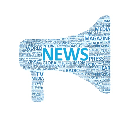 business news: Megaphone symbol made up of various news words  Isolated on white