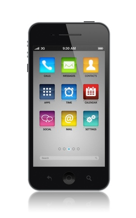 mp3 player: Modern smartphone with application icons on a screen  Isolated on white