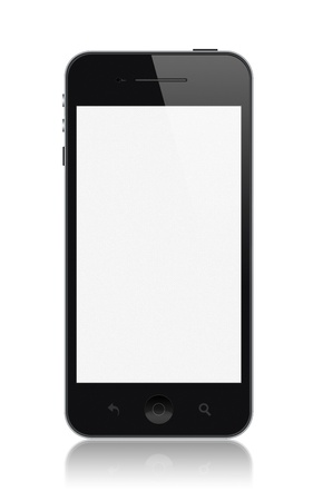 apple computers: Modern smartphone with blank screen isolated on white  Stock Photo