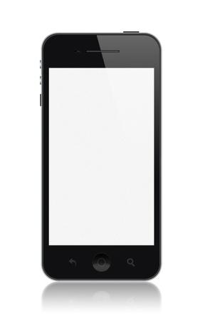 Smartphone moderne avec écran blanc isolé sur blanc Banque d'images